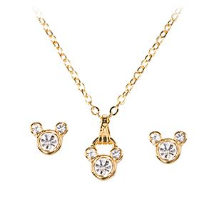 Crystal Mickey Mouse Necklace and Earring Set -- 3-Pc.