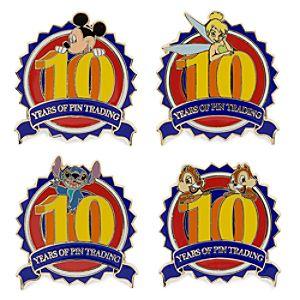 10th Anniversary Disney Pin Trading Logo Pin Set -- 4-Pc.