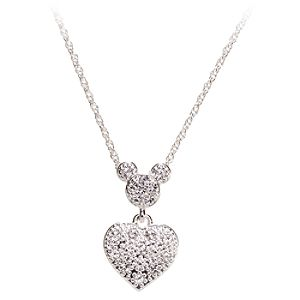 Silver Crystal Heart Mickey Mouse Necklace