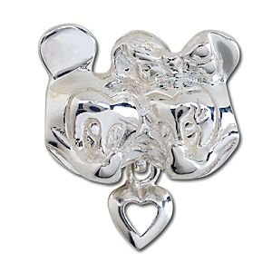 Sterling Silver Minnie and Mickey Mouse Heart Charm
