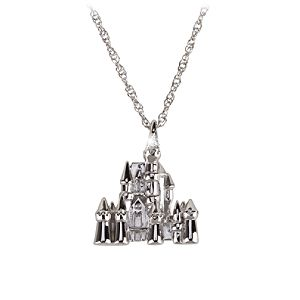 Sterling Silver and Diamond Sleeping Beauty Castle Necklace from the Disney Dream Collection