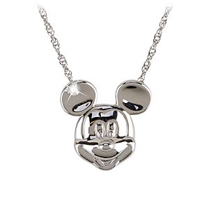 Sterling Silver and Diamond Mickey Mouse Face Necklace from the Disney Dream Collection