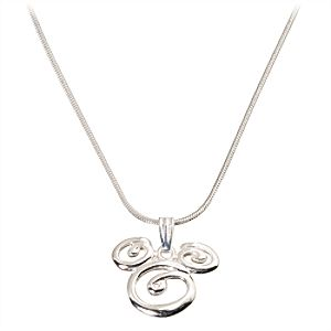 Sterling Silver Swirl Mickey Mouse Necklace