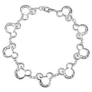 Sterling Silver and CZ Curl Mickey Mouse Bracelet