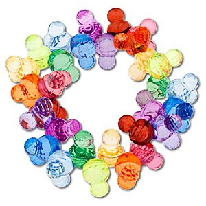 Sparkle Mickey Mouse Icon Bead Bracelet -- Rainbow