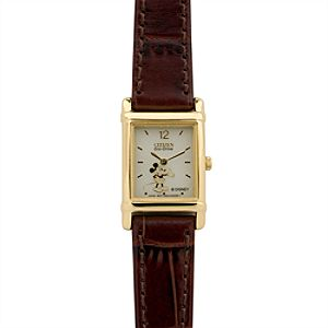Citizen® Eco-Drive® Brown Leather Mickey Mouse Watch for Women
