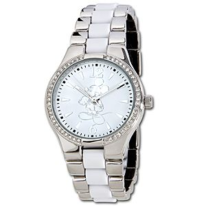 Pavé Crystal Silver and White Mickey Mouse Watch