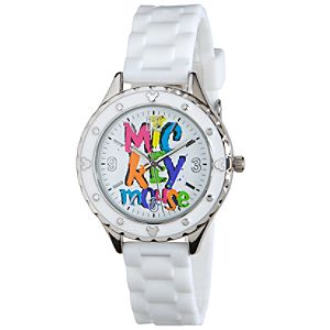 Silicone Woven Mickey Mouse Watch -- White