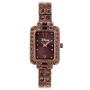 Brown Rhinestone Mickey Mouse Watch for Women