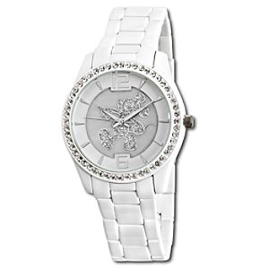 Pavé Crystal Boyfriend Mickey Mouse Watch in White