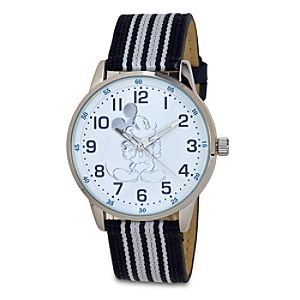 Striped Canvas Mickey Mouse Watch