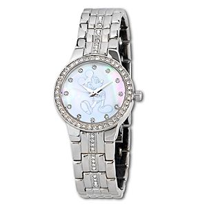 Pavé Crystal Opalescent Silver Mickey Mouse Watch