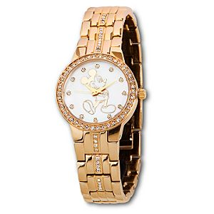 Pavé Crystal Opalescent Gold Mickey Mouse Watch