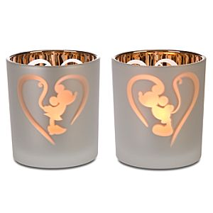 Kissing Minnie and Mickey Mouse Votive Candle Holders -- 2-Pc.