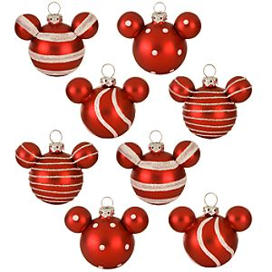 Peppermint Glass Mini Mickey Mouse Holiday Ornaments -- 8-Pc. Set