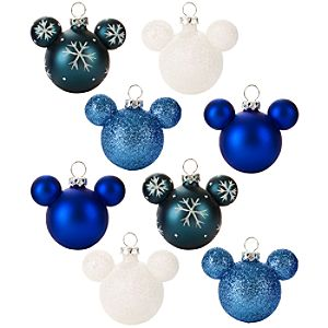 Winter Glass Mini Mickey Mouse Holiday Ornaments -- 8-Pc. Set