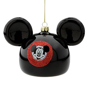 Glass Mickey Mouse Ear Hat Holiday Ornament