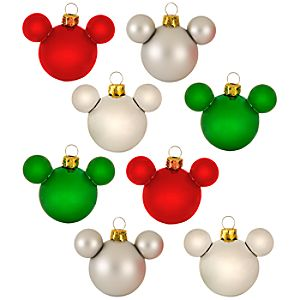 Traditional Glass Mini Mickey Mouse Holiday Ornaments -- 8-Pc. Set