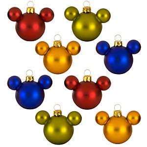 Rainbow Glass Mini Mickey Mouse Holiday Ornaments -- 8-Pc. Set
