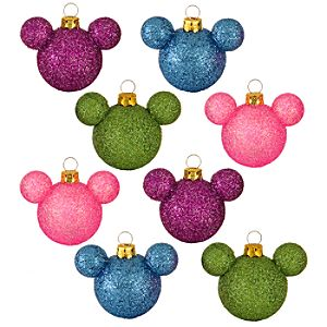 Glitter Princess Mini Mickey Mouse Holiday Ornaments -- 8-Pc. Set