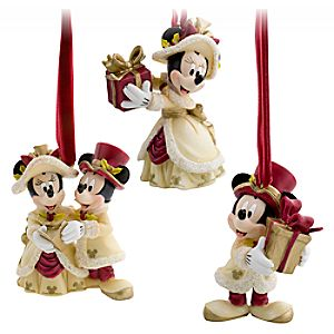 Victorian Minnie and Mickey Mouse Holiday Ornaments -- 3-Pc. Set