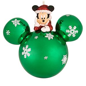 Green Glass Santa Mickey Mouse Holiday Ornament