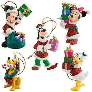 Santa Mickey Mouse and Friends Holiday Ornaments -- 5-Pc. Set
