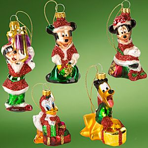 Glass Santa Mickey Mouse and Friends Holiday Ornaments -- 5-Pc. Set