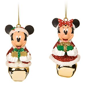 Santa Mickey and Minnie Mouse Jingle Bell Ornament Set -- 2-Pc.