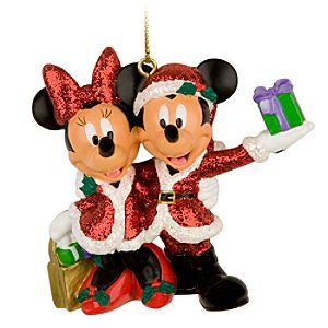 Santa Mickey and Minnie Mouse Holiday Ornament