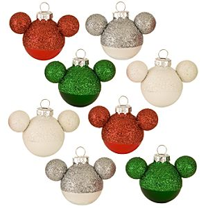 Ear Hat Glass Mini Mickey Mouse Holiday Ornaments - - 8-Pc. Set