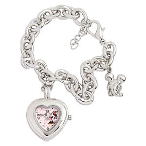 Create-Your-Own Heart Charm Bracelet Watch for Women