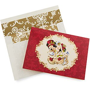 Victorian Minnie and Mickey Mouse Holiday Greeting Cards -- Set of 14