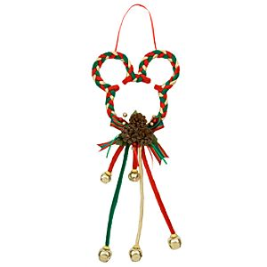 Santa Mickey Mouse Holiday Door Hanger -- Red, Green and Gold