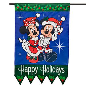 Santa Minnie and Mickey Mouse Flag