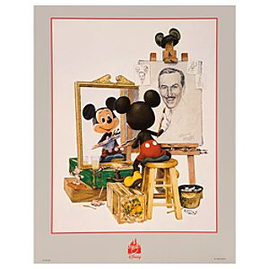 Self Portrait Walt Disney and Mickey Mouse Poster -- Petite Print Size