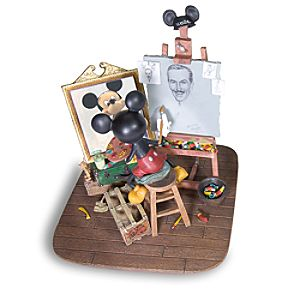 Self-Portrait Walt Disney and Mickey Mouse Figurine