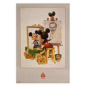 Self Portrait Walt Disney and Mickey Mouse Poster
