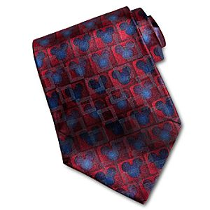 Watercolor Red Silk Mickey Mouse Tie