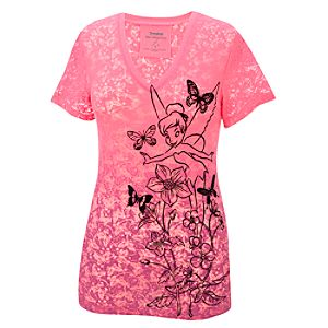 Vee-Neck Flocked Burnout Tinker Bell Tee for Women