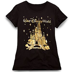 Gold Foil Walt Disney World Resort Cinderella Castle Tee for Women -- Black
