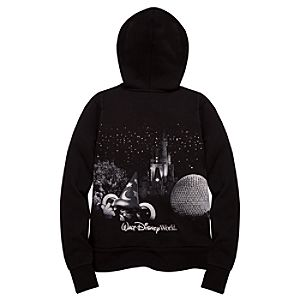 Glitter Walt Disney World Resort Hooded Fleece Jacket for Women -- Black
