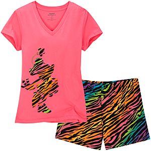 Zebra Minnie Mouse Short Pajamas for Women