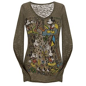 Long Sleeve Burnout Doodle Mickey Mouse Tee for Women
