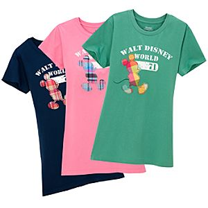 Madras Plaid Appliqué Mickey Mouse Tee for Women