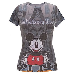 Mickey Mouse Rhinestone Walt Disney World Resort Castle Tee for Women