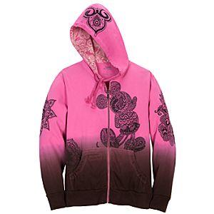 Hooded Dip Dye Batik Mickey Mouse Jacket
