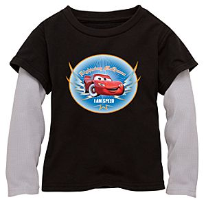 Double-Up Long-Sleeved Black Lightning McQueen Tee for Boys