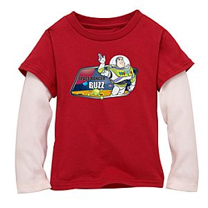 Double-Up Long-Sleeved Red Buzz Lightyear Tee for Boys