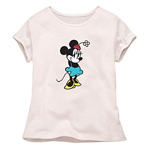 Fitted White Baby Doll Minnie Mouse Tee for Girls